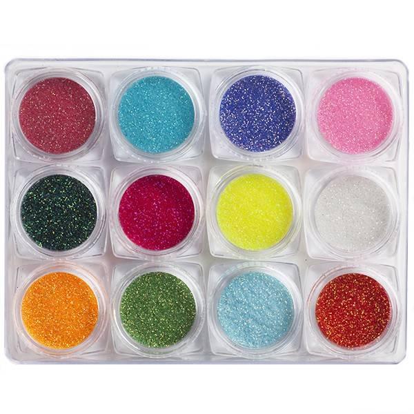 Nailart Pakket Neon Glitter 12 Stuks