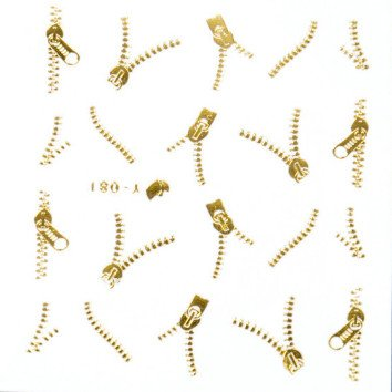 Nailart Sticker Ritssluiting Gold